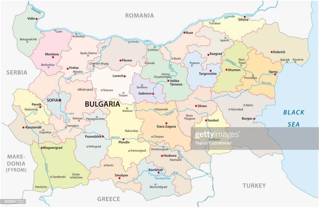 Bulgaria map with major cities and rivers