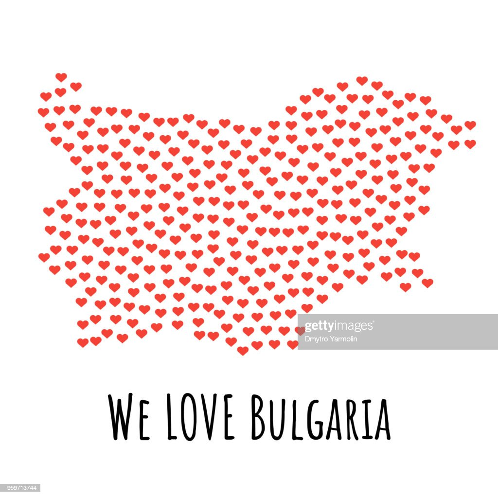 Bulgaria Map with red hearts - symbol of love. abstract background