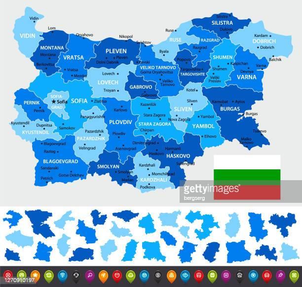 stockillustraties, clipart, cartoons en iconen met bulgarije kaart met regio's, navigatie-pictogrammen en nationale vlag. bestand bevat gescheiden regio's - macedonië land