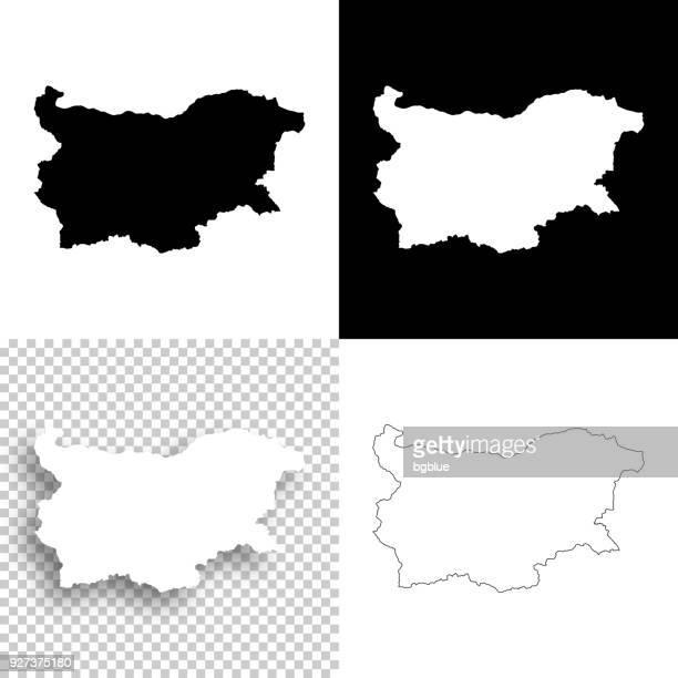 設計 - ブルガリア マップの空白、白と黒の背景 - ブルガリア点のイラスト素材/クリップアート素材/マンガ素材/アイコン素材
