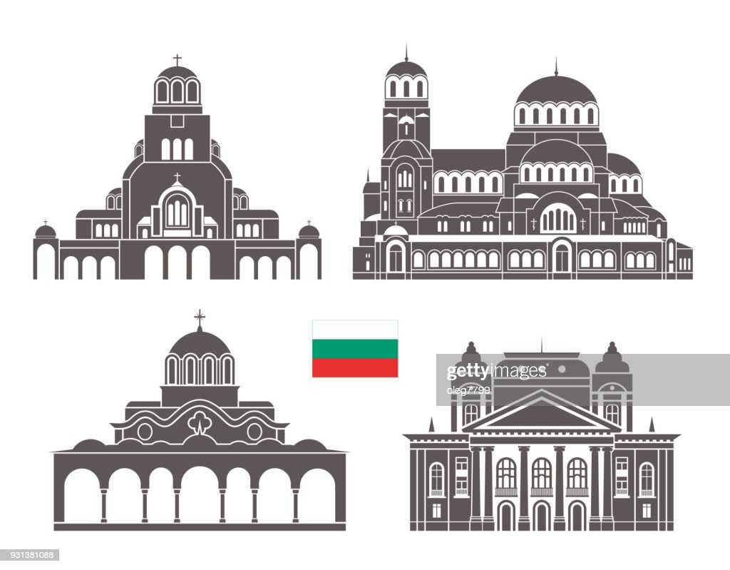 Bulgaria set. Isolated Bulgaria architecture on white background