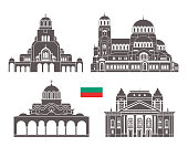Bulgaria set. Isolated Bulgaria architecture on white background