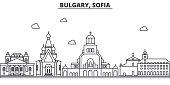 Bulgaria, Sofia architecture line skyline illustration. Linear vector cityscape with famous landmarks, city sights, design icons. Landscape wtih editable strokes