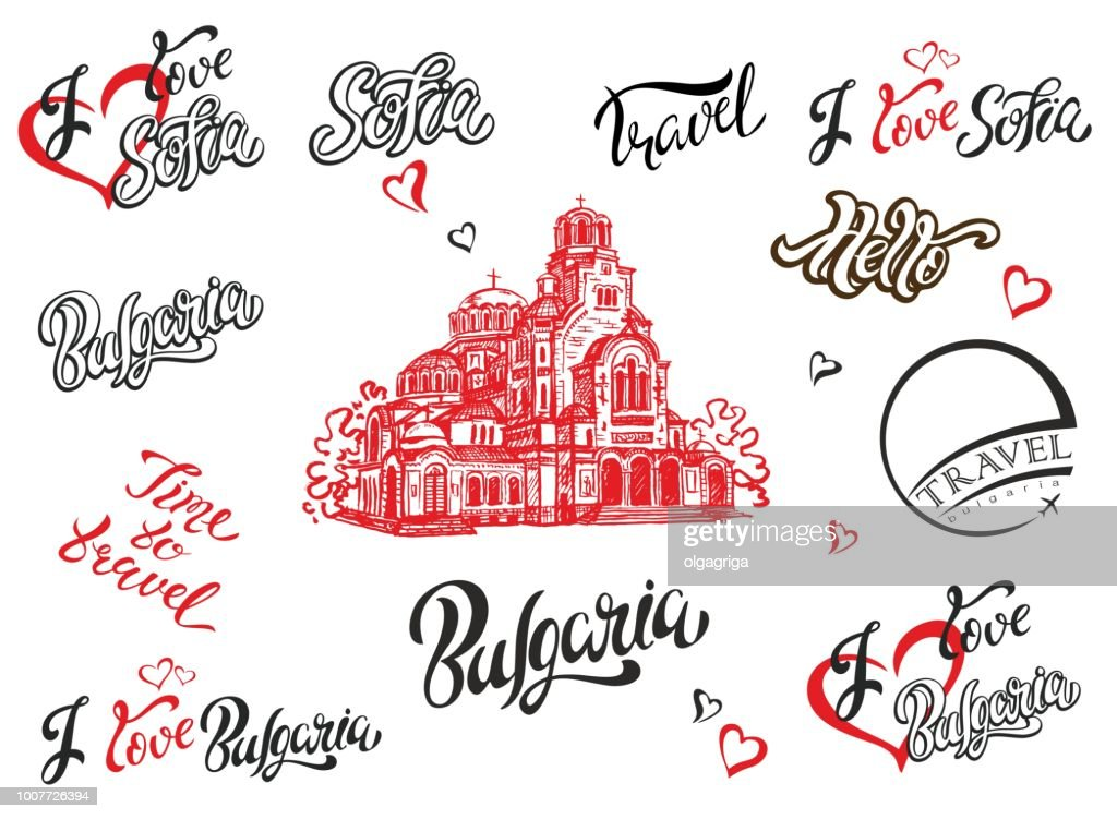 Bulgaria. Sofia. Set of elements for design. Lettering. The sketch of the Cathedral of Alexander Nevsky. Travel. Vector.