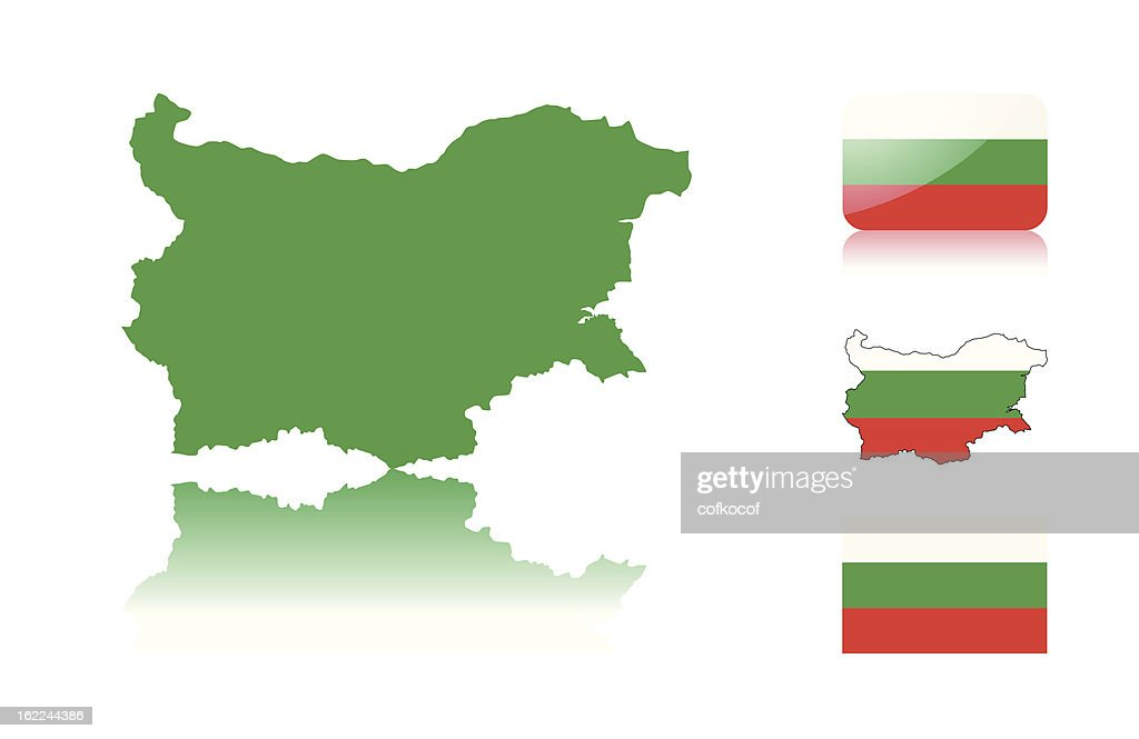 Bulgarian map and flags