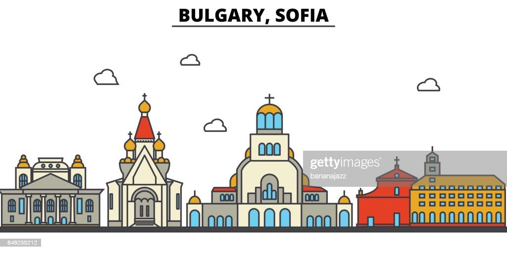 Bulgary, Sofia. City skyline: architecture, buildings, streets, silhouette, landscape, panorama, landmarks. Editable strokes. Flat design line vector illustration concept. Isolated icons set