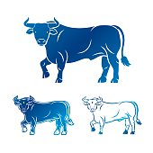 Bull ancient emblems elements set. Heraldic vector design elements collection. Retro style label, heraldry logo.