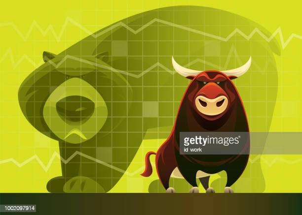 bull and bear market - bull market stock illustrations, clip art, cartoons, & icons