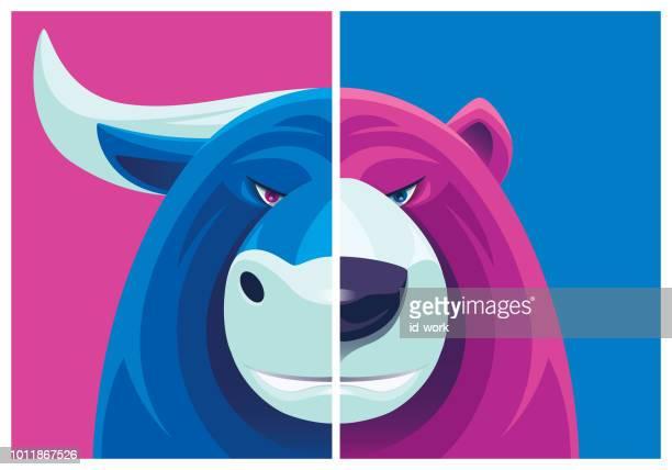 bull and bear mascot - bull market stock illustrations, clip art, cartoons, & icons
