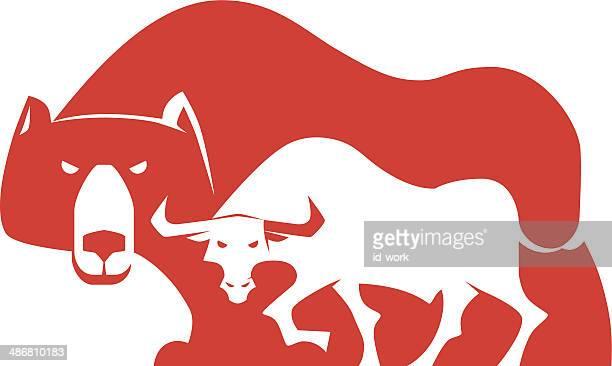 bull and bear silhouette - bull market stock illustrations, clip art, cartoons, & icons
