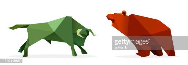 bull and bear - male animal stock illustrations