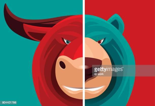 bull and bear - animal body part stock illustrations