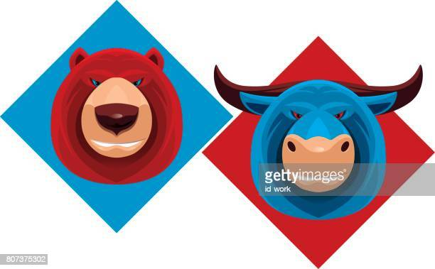 bull and bear - bull market stock illustrations, clip art, cartoons, & icons