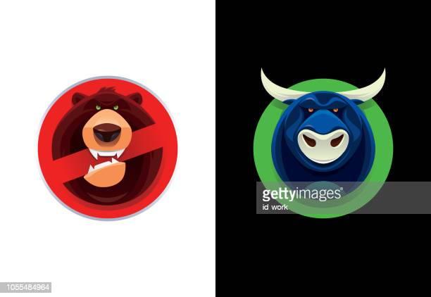 bull and bear warning symbols - bull market stock illustrations, clip art, cartoons, & icons