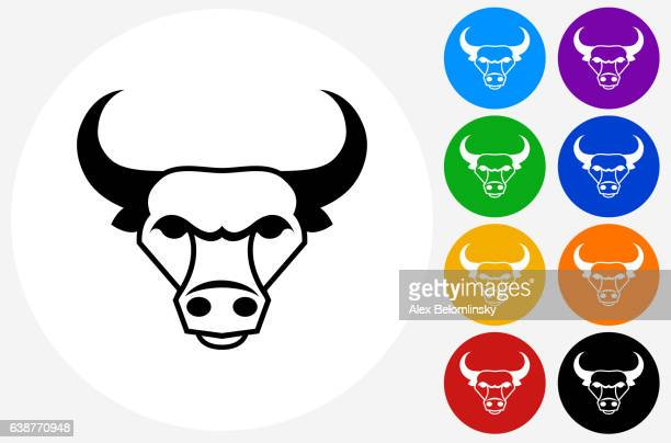 Bull and Horns Icon on Flat Color Circle Buttons