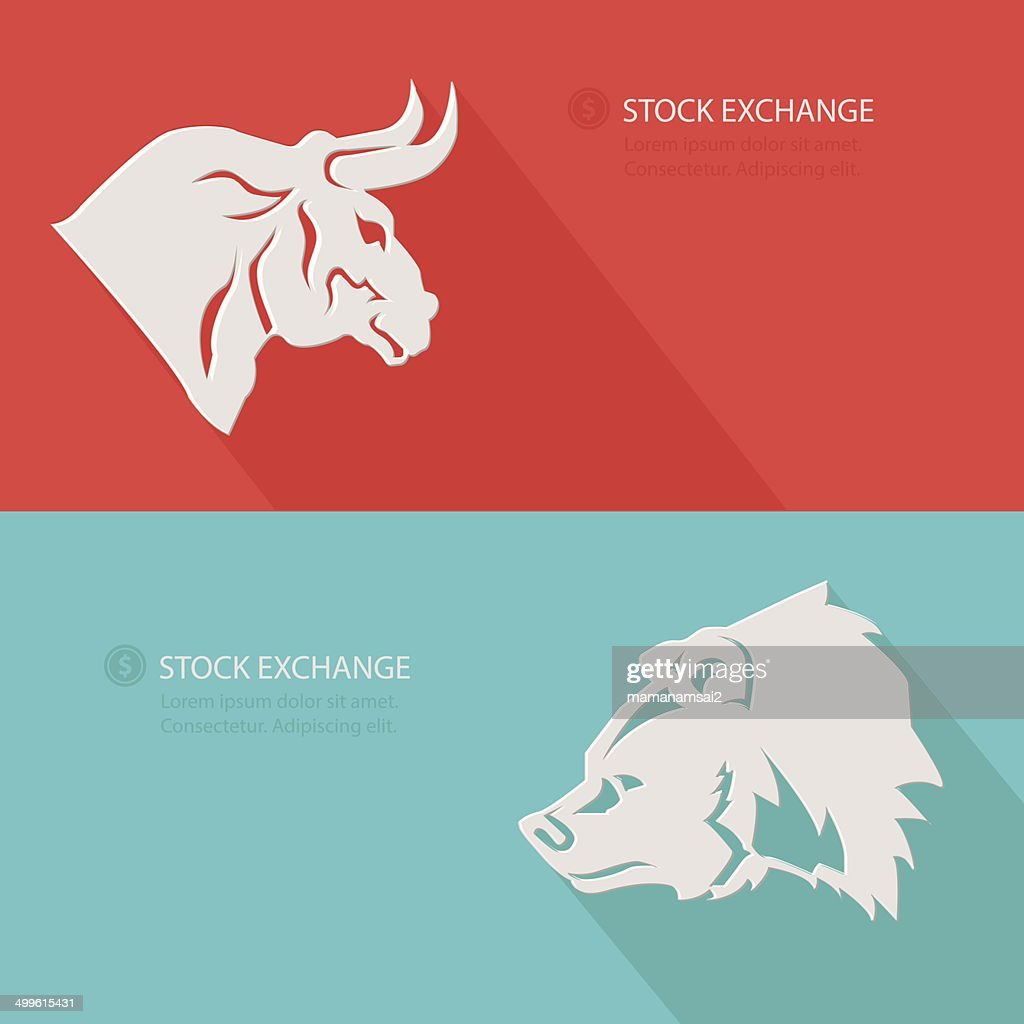 Bull & Bear,Stock exchange concept,Blank for text,vector