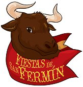 Bull behind Red Handkerchief Celebrating Spanish Festival of San Fermin