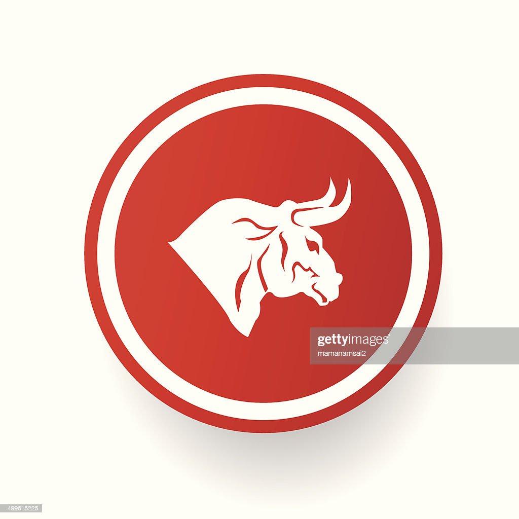 Bull button,vector