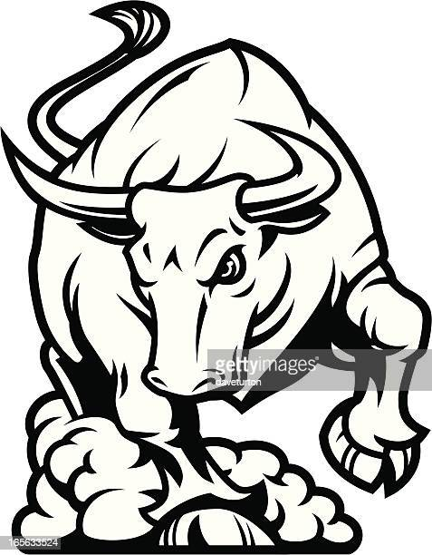 bull charging b&w - animals charging stock illustrations, clip art, cartoons, & icons