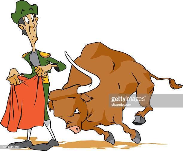 bull fighter - bullfighter stock-grafiken, -clipart, -cartoons und -symbole
