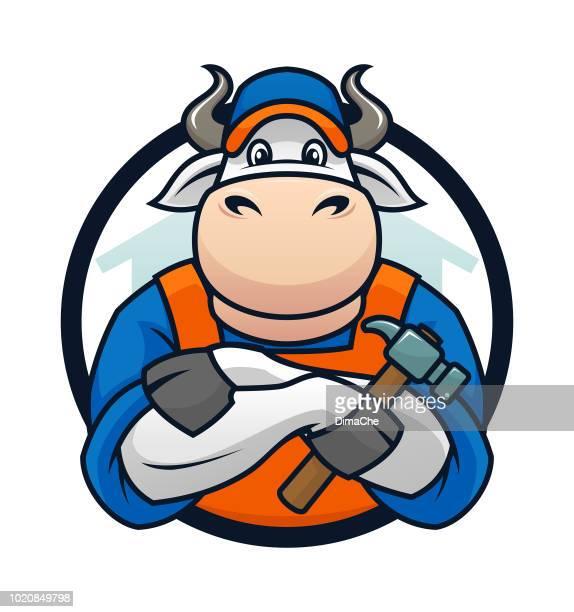 Bull-Handyman-Maskottchen-Cartoon-Figur