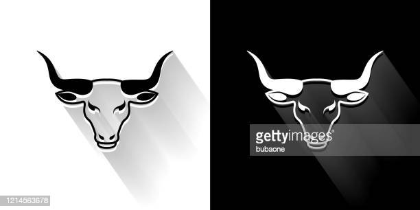 bull head  black and white icon with long shadow - bull animal stock illustrations