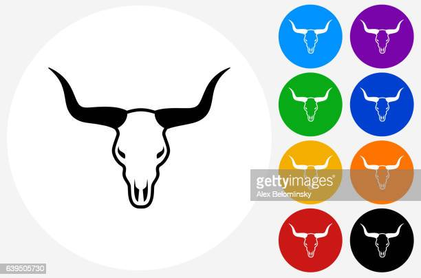 Bull Head Icon on Flat Color Circle Buttons