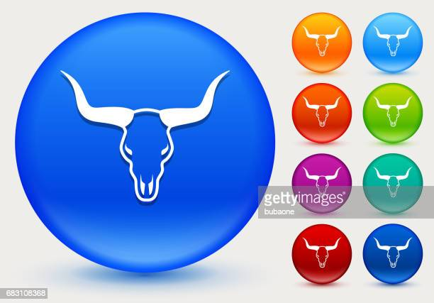 Bull Head Icon on Shiny Color Circle Buttons