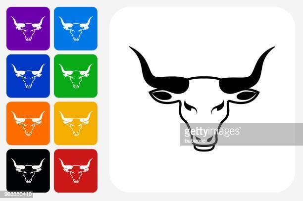 Bull Head Icon Square Button Set