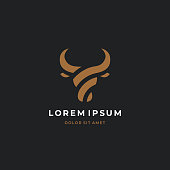 Bull head logo. Abstract stylized cow or bull head with horns icon. Premium logo for steak house, meat restaurant or butchery. Taurus symbol. Vector illustration.