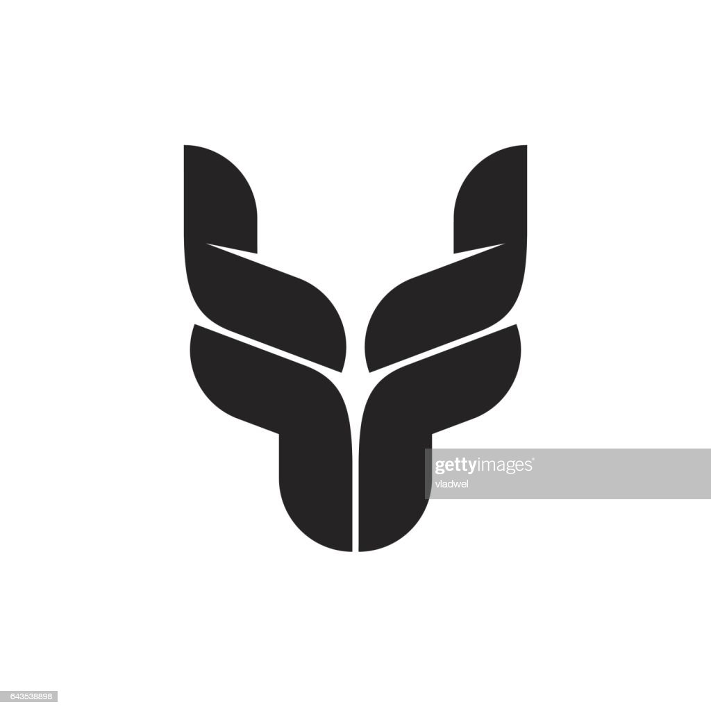 Bull head logo symbol, black bull horns emblem, ox head shape, breeding cattle logotype
