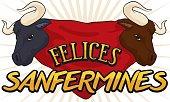 Bull Heads over Red Handkerchief to Celebrate Spanish Sanfermines