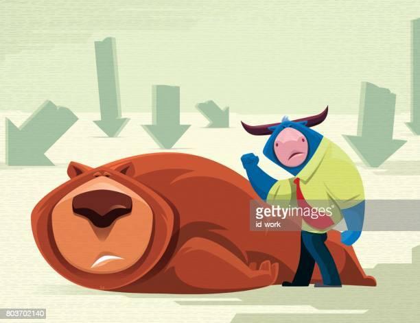 bull hitting bear - bull market stock illustrations, clip art, cartoons, & icons