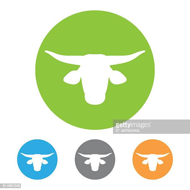 bull icon vector - african buffalo stock illustrations, clip art, cartoons, & icons