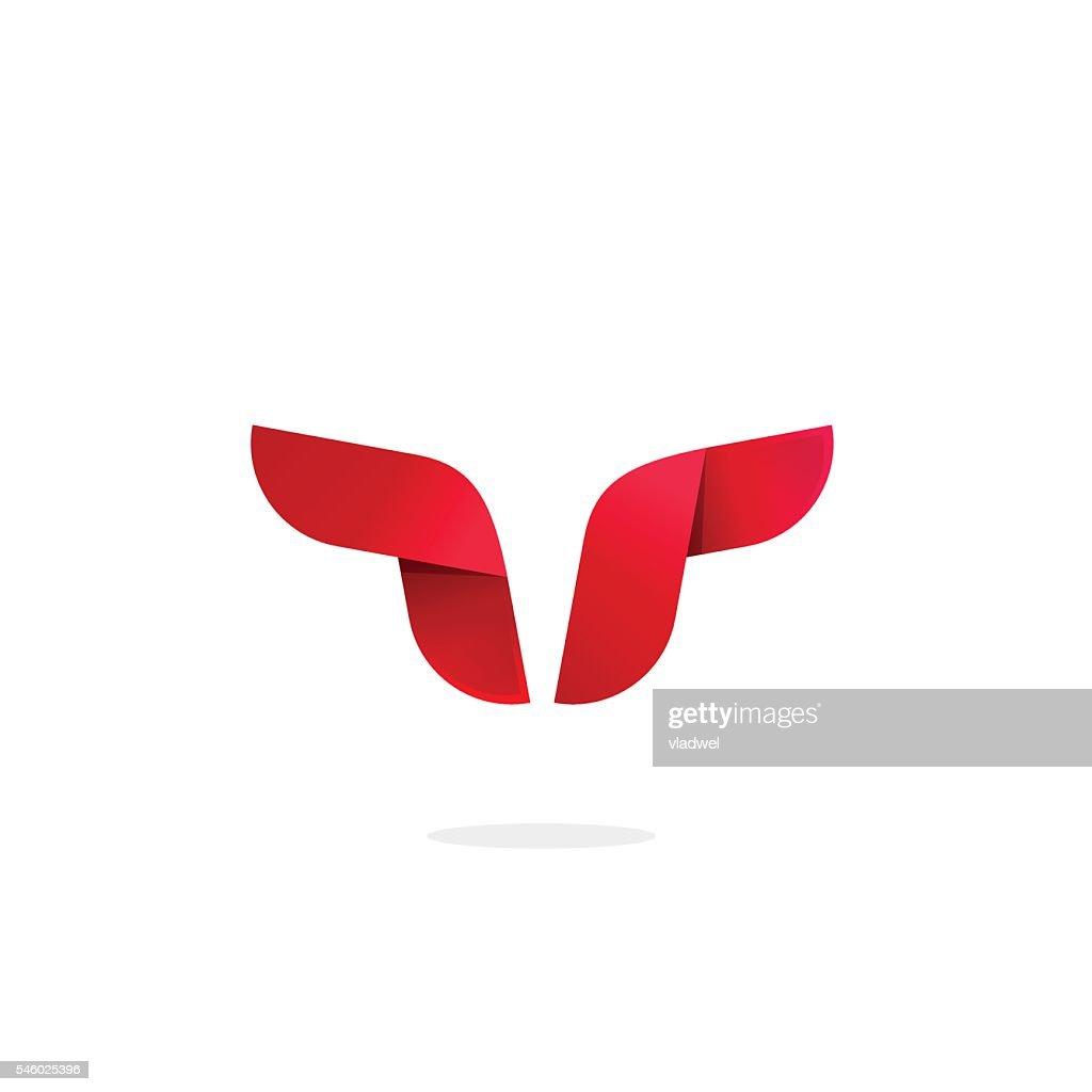 Bull logo template vector, buffalo horns abstract, strong cattle geometric