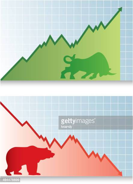 bull market and bear market - bull market stock illustrations, clip art, cartoons, & icons