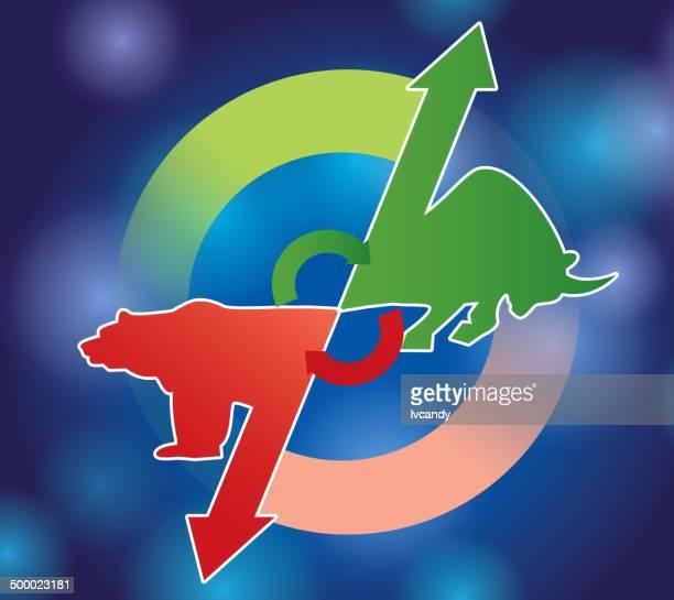 bull market and bear market - nasdaq stock illustrations, clip art, cartoons, & icons