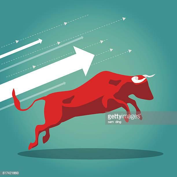 bull market - bull market stock illustrations, clip art, cartoons, & icons