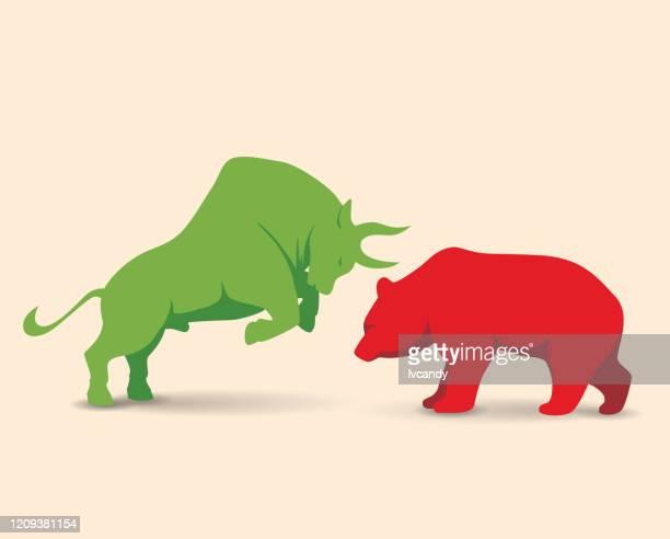 ilustraciones, imágenes clip art, dibujos animados e iconos de stock de mercado alcista vs mercado de osos - mercado bursátil