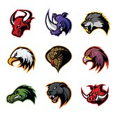 Bull, rhino, wolf, eagle, cobra, alligator, panther, boar head isolated vector concept.