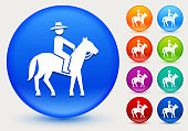 Bull Riders Icon on Shiny Color Circle Buttons