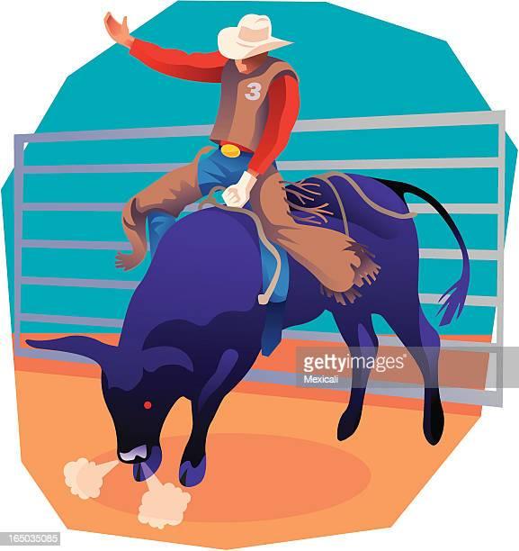 ilustrações de stock, clip art, desenhos animados e ícones de montar touros - rodeio