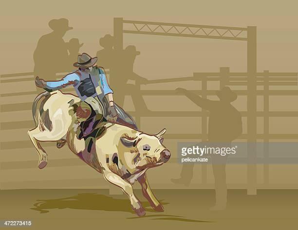 bull riding - bull riding stock illustrations