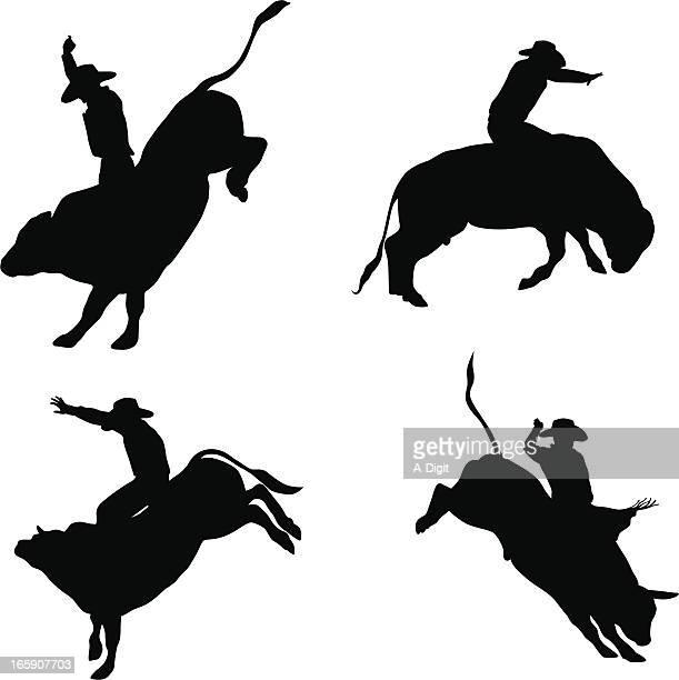 bull riding vector silhouette - bull riding stock illustrations