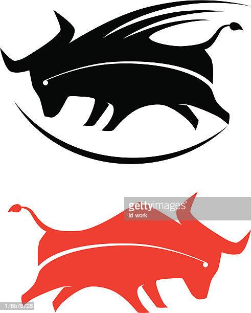 bull silhouette - wild cattle stock illustrations, clip art, cartoons, & icons