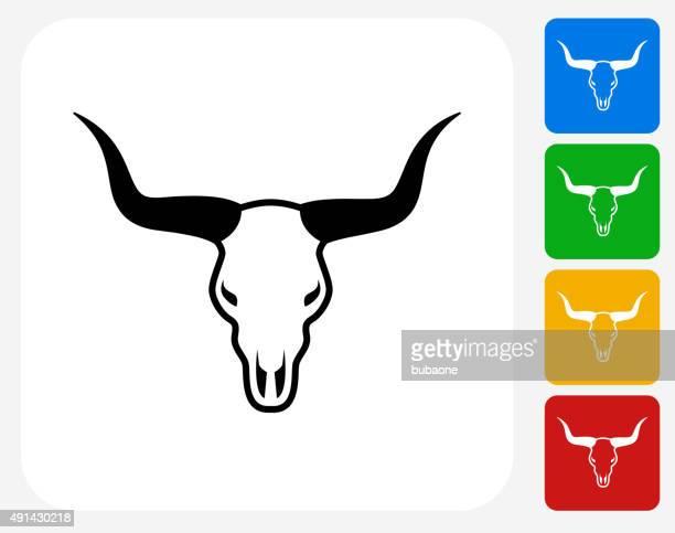 Bull Skull Icon Flat Graphic Design