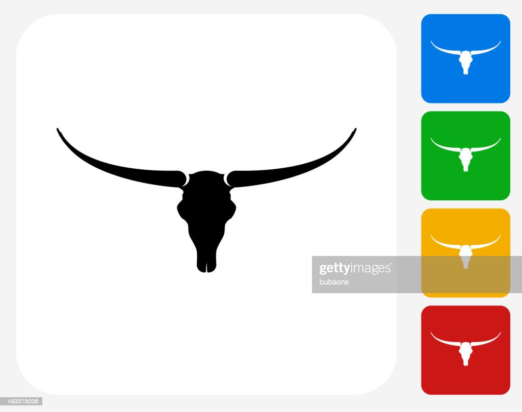 Bull Skull Icon Flat Graphic Design