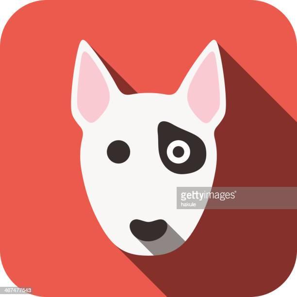 Bull terrier perro, animal de la cara vector de diseño de ui PLANA,