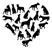 Bull Terrier Dog Heart Silhouette Concept