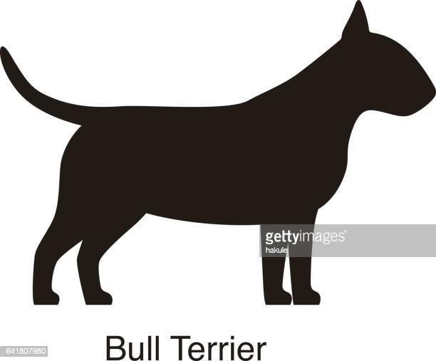Silueta de perro Bull Terrier, vista lateral, vector